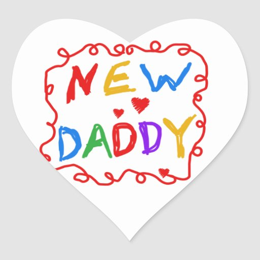 Primary Colors New Daddy Gifts Heart Stickers