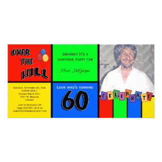 Primary Colors Photo Surprise 60th Birthday Party Card