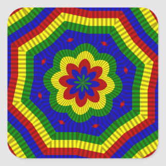 Primary Colors Rolled Flower 1 Square Sticker