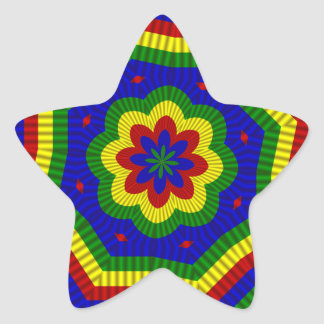 Primary Colors Rolled Flower 1 Star Sticker