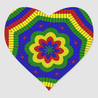 Primary Colors Rolled Flower 1 Heart Sticker
