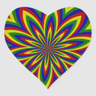 Primary Colors Rolled Flower 2 Heart Sticker