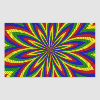 Primary Colors Rolled Flower 2 Rectangular Sticker
