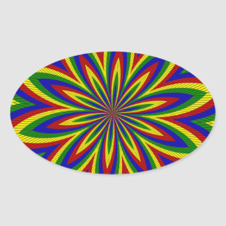 Primary Colors Rolled Flower 2 Oval Stickers