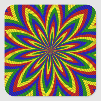 Primary Colors Rolled Flower 2 Square Stickers