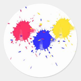 Primary Colors Splash Round Sticker