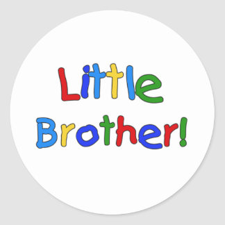 Primary Colors Text Little Brother Round Sticker