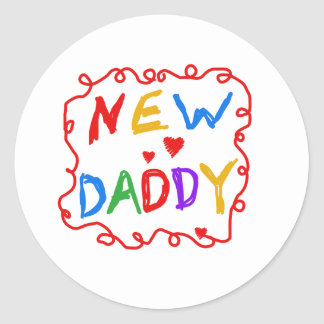 Primary Colors Text New Daddy Round Sticker