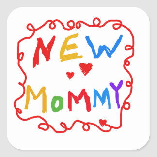 Primary Colors Text New Mommy Gifts Sticker