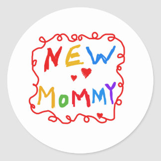 Primary Colors Text New Mommy   Round Sticker