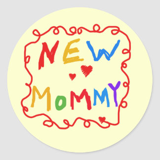 Primary Colors Text New Mommy  Tshirts Round Sticker