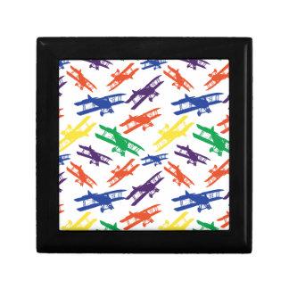 Primary Colors Vintage Biplane Airplane Pattern Trinket Boxes