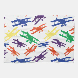 Primary Colors Vintage Biplane Airplane Pattern Kitchen Towels