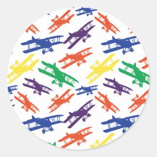 Primary Colors Vintage Biplane Airplane Pattern Round Sticker