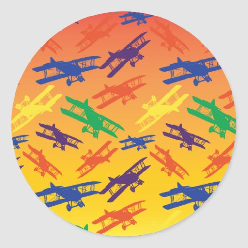 Primary Colors Vintage Biplane Airplane Pattern Round Stickers