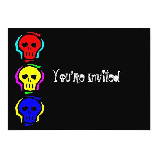 Primary Colour Skulls 13 Cm X 18 Cm Invitation Card
