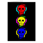 Primary Colour Skulls Greeting Card