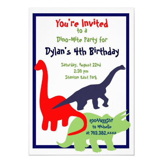 Primary Colours Dinosaur Birthday Party Card