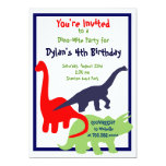 Primary Colours Dinosaur Birthday Party Personalised Invitations