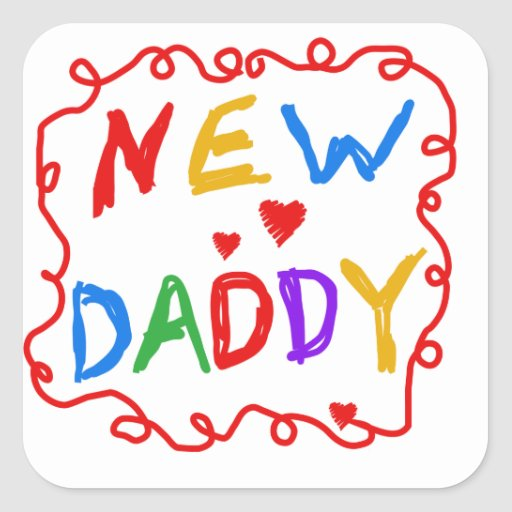 Primary Colours New Daddy Gifts Square Stickers