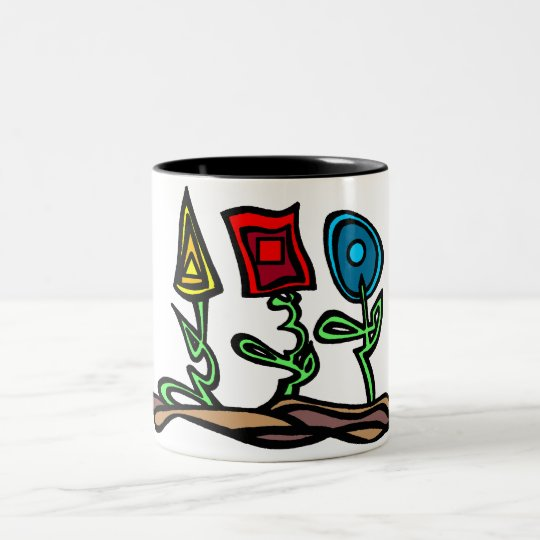 Primary Flowers Two-Tone Coffee Mug