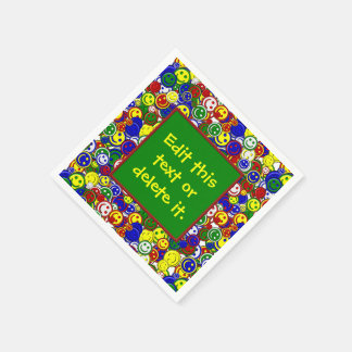 Primary Smiley Face Beads 3-GREEN-PAPER NAPKINS Disposable Serviettes