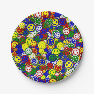 Primary Smiley Face Beads,Blue-PAPER PLATES 7 Inch Paper Plate