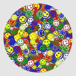 Primary Smiley Face Beads,RED-ROUND STICKERS