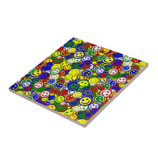 Primary Smiley Face Beads-YELLOW-CERAMIC TILE