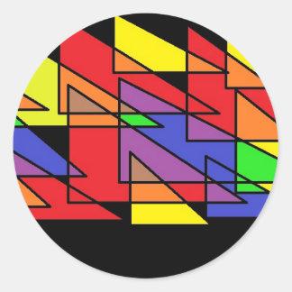 primary triangles round sticker
