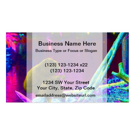 Primate eating greens on edge of land neon business card templates