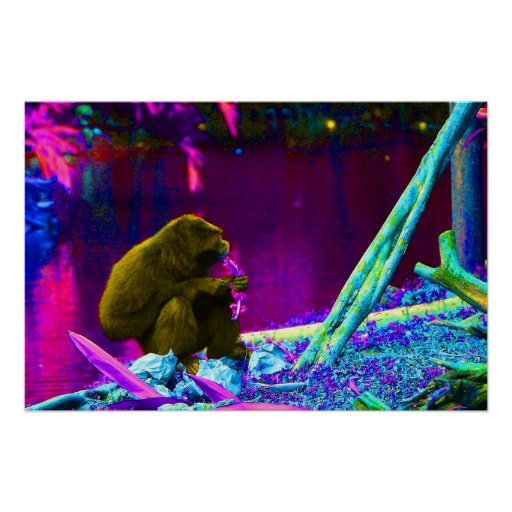 Primate eating greens on edge of land neon poster