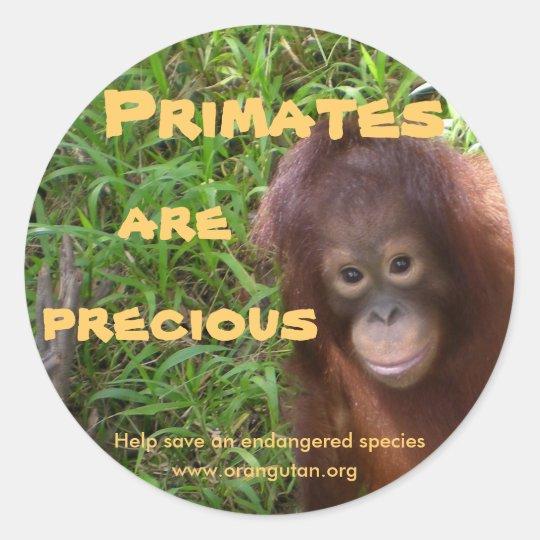 Primates are Precious Round Sticker