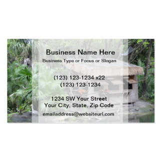 primates on tiki style monkey hut at zoo business cards