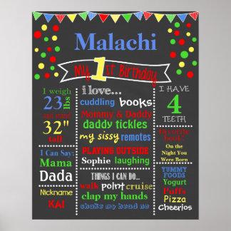 Prime Polka Dot Birthday Chalkboard Poster