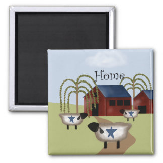 Primitive Americana Barn and Sheep Magnet