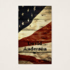 Primitive Americana Barn Wood American Flag Business Card