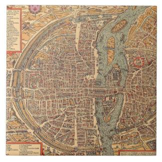Primitive Antique Map of Paris France Tile