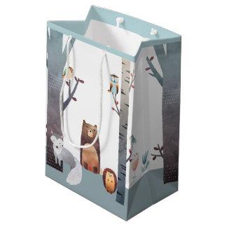 Primitive Baby Woodland Animals Trees Birds Medium Gift Bag