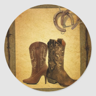 Primitive Barn Wood western country cowboy boots Round Sticker