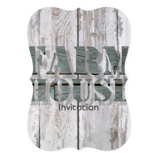primitive barn wood western country farmhouse 13 cm x 18 cm invitation card