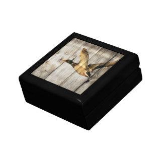 Primitive Barn wood Western Country mallard duck Small Square Gift Box