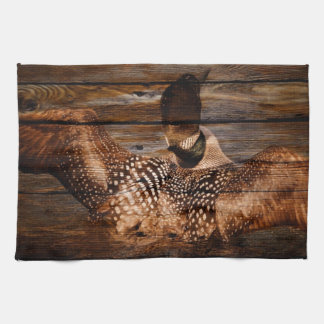 Primitive Barn wood Western Country waterfowl Loon Tea Towel