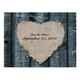 Primitive Blue Wood and Heart Save the Date Post Card