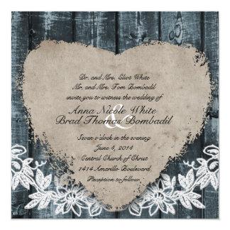 Primitive Blue Wood Heart Wedding Invitation