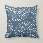 Primitive Boho Mosaic Pattern Dark Denim Blue Cushion