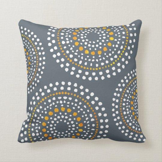 Primitive Boho Mosaic Pattern Gold Grey Cushion