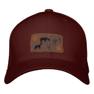 Primitive Bow Hunting Scene Embroidered Hat