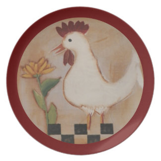 Primitive Chicken and Flower Painting Plate
