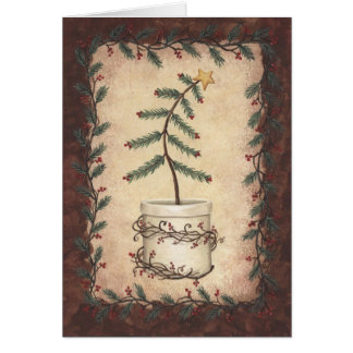 Primitive Christmas Tree Card
